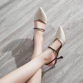 包頭半拖鞋女夏時尚外穿細跟高跟穆勒鞋社會網紅懶人涼拖【新品上新】