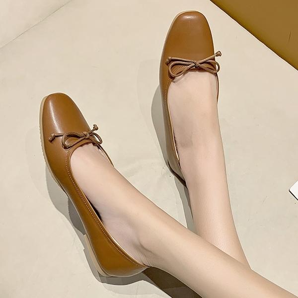 方頭鞋.訂製款.MIT經典百搭素色細緻蝴蝶結平底包鞋.白鳥麗子