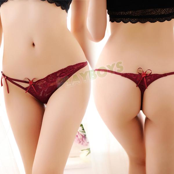 性感女內褲 俏麗天使蕾絲綁帶丁字褲(酒紅)-玩伴網【滿額免運】
