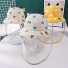 嬰兒防護帽防飛沫寶寶帽子兒童遮臉面罩新生嬰幼兒漁夫帽 百分百
