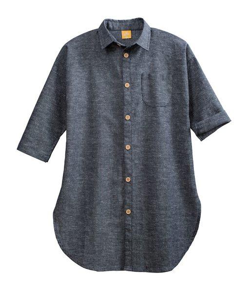 童裝 現貨 高級精梳棉長版襯衫外套/上衣-01灰黑牛仔色【94157】