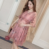 漂亮小媽咪 孕婦洋裝 【D0356】 魅力花色 五分袖 雪紡 孕婦裝 短袖 連身裙