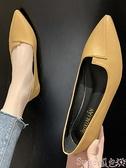 尖頭鞋 單鞋女平底新款復古百搭軟底四季鞋尖頭淺口舒適職業工作鞋子 suger