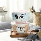 韓匠|韓式陶瓷泡面碗飯盒餐具創意可愛泡面杯湯碗套裝帶蓋勺