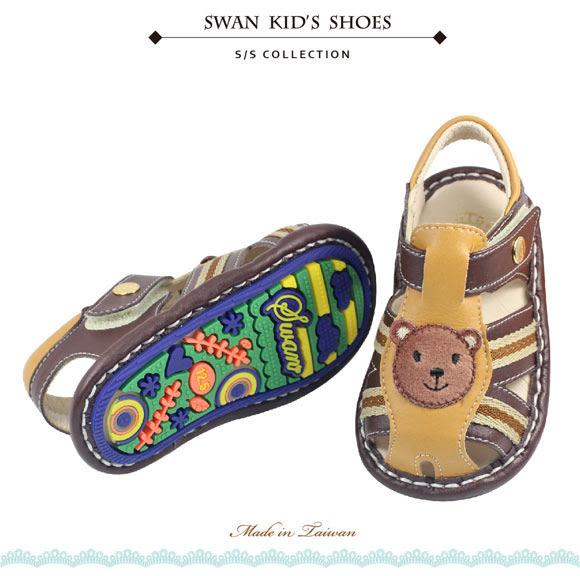 Swan天鵝童鞋-可愛小熊寶寶涼鞋1514-咖