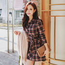 VK精品服飾 韓系格子襯衫蝴蝶結系帶氣質翻領包臀長袖洋裝