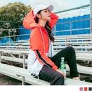 《KS0723》防潑水撞色拼接拉鍊連帽造型運動外套 OrangeBear