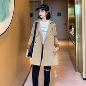 風衣大衣-短款撞色袖口寬鬆翻領女外套73yt20【巴黎精品】