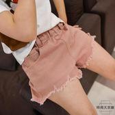 女童牛仔短褲破洞中大童兒童韓版寬松熱褲子【時尚大衣櫥】