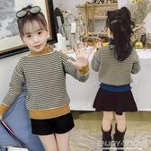 女童條紋打底衫 秋冬女童打底衫高領針織衫條紋兒童毛衣套頭中大童上衣 宜室家居