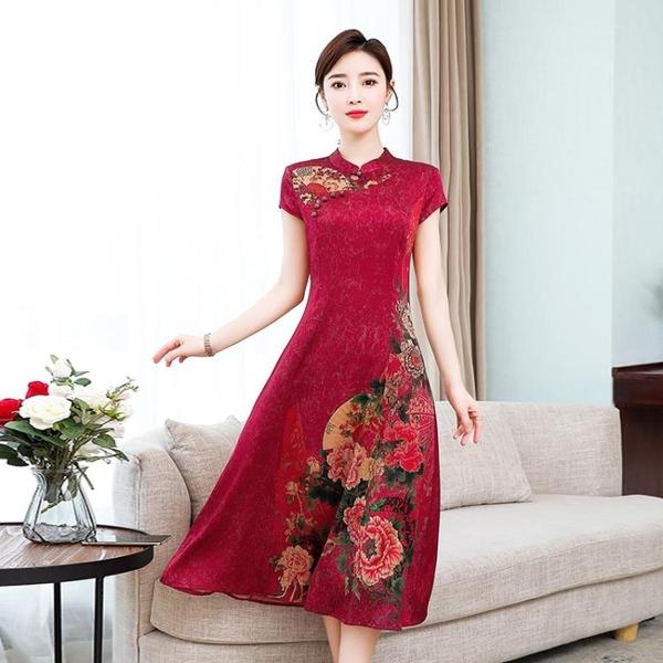 媽媽禮服 中國風印花改良旗袍式連身裙女夏裝新款媽媽復古高貴氣質真絲 百分百