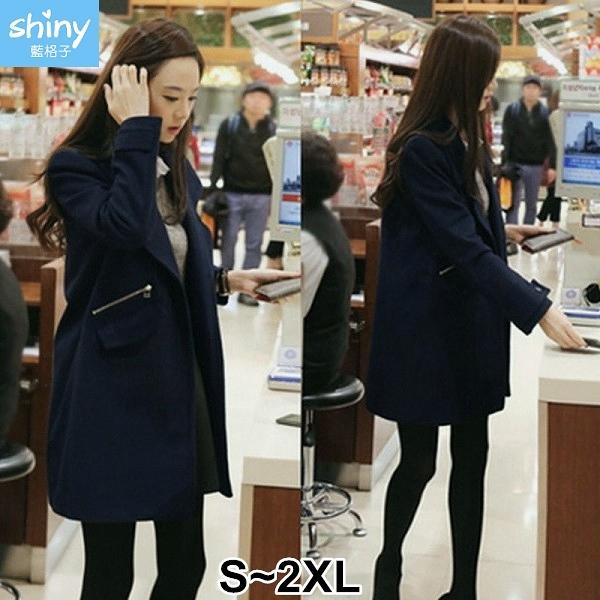 【V2744】shiny藍格子-甜美輕熟.顯瘦中長版毛呢薄款大衣外套