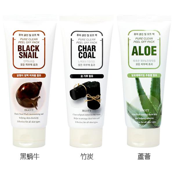 韓國 JIGOTT 挽面撕拉面膜(180ml) 黑蝸牛/竹炭/蘆薈 3款可選【小三美日】