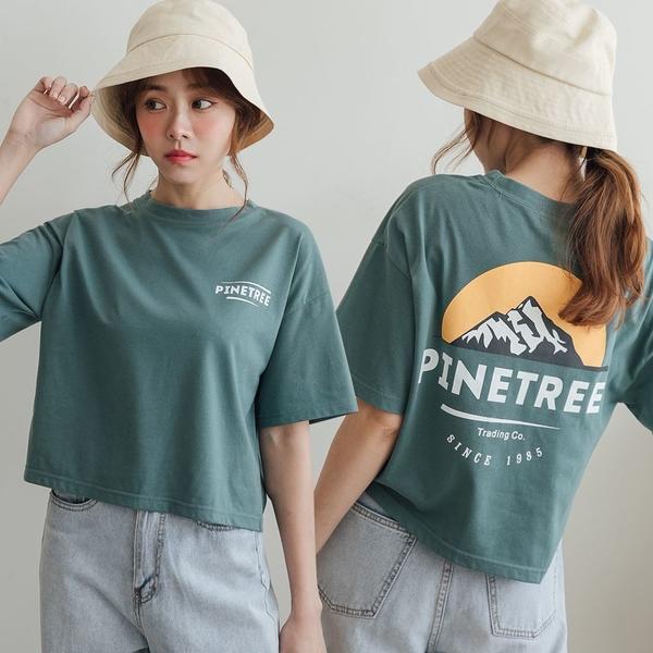 MIUSTAR 正韓-PINETREE山脈膠印短版棉質上衣(共3色)【NJ1736RE】預購