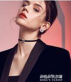日韓絲絨水鑽方扣短款項鍊 鎖骨頸鍊CHOKER 脖頸飾品頸帶女  朵拉朵衣櫥