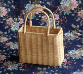 編織籃方形藤編手提籃 手工編織印尼藤 時尚簡約百搭拍照女包手提挎包雙12狂歡