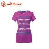 【Wildland 荒野 女 彈性棉感抗UV印花上衣《淺紫》】0A61607-57/抗紫外線/短袖T恤/登山/長版