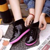 韓國時尚短筒學生系帶雨鞋加絨雨靴成人膠鞋防滑套鞋女款低幫水鞋【全館八八折促銷】