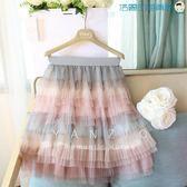 雙十二狂歡韓版半身裙彩虹裙網紗百褶短中裙【洛麗的雜貨鋪】