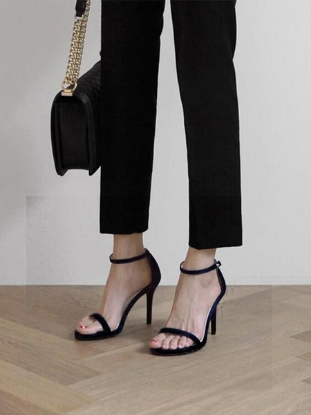 性感一字扣帶涼鞋2021新款夏季百搭高跟鞋細跟黑色時裝女鞋仙女風 傑森型男館