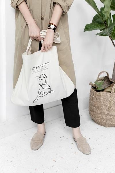 Moreover原創設計大容量純棉帆布袋環保袋單肩布包手提袋男女ins