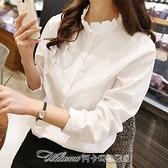 襯衫2021年春裝新款加絨白色木耳領邊襯衫女設計感小眾上衣百搭秋冬款 阿卡娜