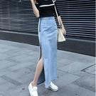 牛仔半身裙 淺藍色女韓版修身顯瘦高腰中長裙拉鏈開叉包臀半身一字裙 - 巴黎衣櫃