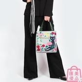 側背包環保防水購物袋字母印花手提包女包包袋【匯美優品】