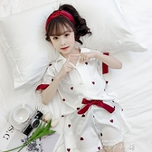 兒童女童睡衣套裝夏季短袖薄款中大童冰絲女孩母女親子家居服套裝 米娜小鋪