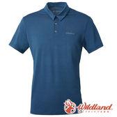 【wildland 荒野】男 雙色POLO抗UV排汗上衣『深藍色』0A61652 T恤 POLO衫 上衣 男版 短袖