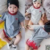 連身裝 嬰兒三角哈衣夏季薄款幼兒短袖連身包屁衣滿月寶寶夏裝衣服夏天 2色