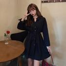 襯裙 大碼女裝氣質連衣裙秋季新款胖mm設計感收腰中長裙顯瘦長袖襯衫裙 莎瓦迪卡