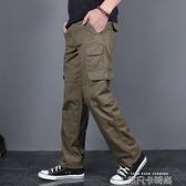 吉普盾純棉休閒褲男寬鬆直筒多口袋工裝褲男長褲加絨加厚戰術褲潮 依凡卡時尚