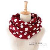 [超豐國際]艾秋冬女士紅色圓點時尚可愛復古時尚百搭圍巾 18(1入)