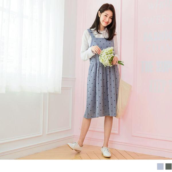 《DA5447-》高含棉滿版點點長版吊帶裙娃娃裝 OB嚴選