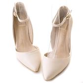 amai日系女孩尖頭繫踝高跟鞋 杏