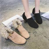 秋新款粗跟高跟方頭毛毛鞋女韓版百搭羊羔毛加絨保暖棉單鞋   西城故事