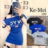 克妹Ke-Mei【AT68457】採購自訂newyork字母圖印可穿露肩長版t洋裝