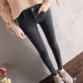 新款韓版牛仔褲女高腰彈力九分褲學生緊身顯瘦小腳長褲子  朵拉朵衣櫥
