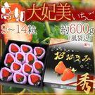 【果之蔬-全省免運】日本原裝高知大妃美草莓黑禮盒X1盒(600克±10%含盒重/盒 約9-14入)