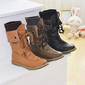 丁果、大尺碼女鞋34-45►韓國翻折中筒軍靴 綁帶馬丁靴*3色全新現貨