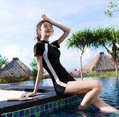 女泳衣-2019新款女士專業運動連身平角保守顯瘦遮肚潛水短袖溫泉泳裝