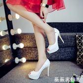 魚口鞋 OL性感高跟鞋細跟魚嘴鞋超高跟白色單鞋黑色職業工作鞋12cm女婚鞋 薇薇家飾