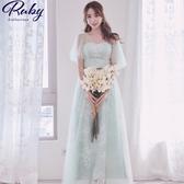 洋裝 網紗傘袖花朵蕾絲短袖長禮服洋裝-Ruby s 露比午茶