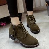 流蘇短靴 流蘇 女鞋 加絨 粗跟短靴 中跟 馬丁靴 系帶 磨砂