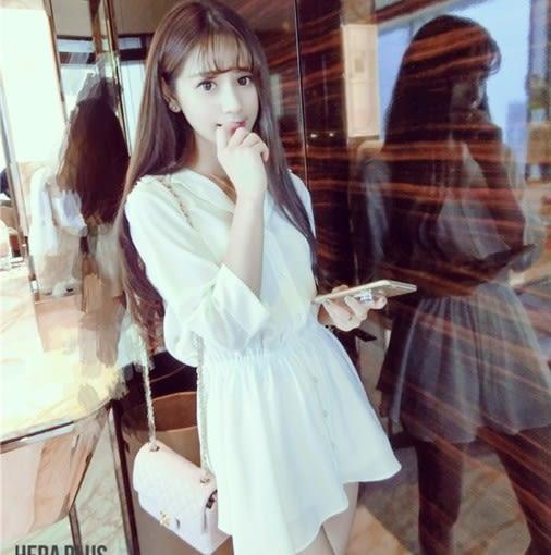 EASON SHOP(GU5297)公主白色連身裙五分袖洋裝女裝雪紡氣質性感顯瘦襯衫裙A字短裙女上衣素色韓版寬鬆