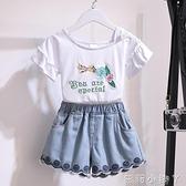 女童夏裝套裝洋氣兒童露肩短袖t恤夏季牛仔短褲時髦網紅兩件套潮 蘿莉新品