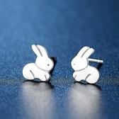 耳環 925純銀鑲鑽-兔子造型情人節生日禮物女飾品73hk3【時尚巴黎】