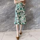 魚尾裙 夏季新款綠葉印花醋酸半身裙女氣質包臀裙緞面舒適垂墜絲滑魚尾裙