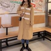 法式設計感寬鬆呢子大衣中長款洋氣長袖毛呢外套女‧復古‧衣閣